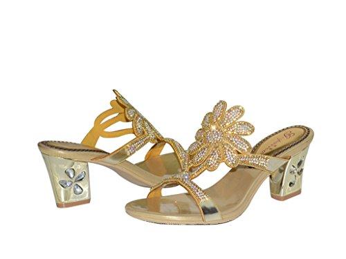 Meijili Damen Peep Damen Meijili Gold Toes r0Z8rwq