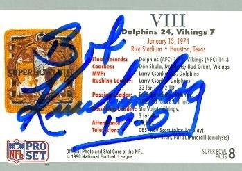 Broncos Denver Football Autographed Pro (Bob Kuechenberg Autographed Football Card (Denver Broncos) 1990 Pro Set No.8 Super Bowl VIII)