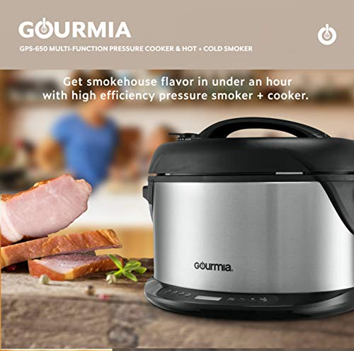 Gourmia GPS650 1-Hour & Cold Smoker, Cooker and Steamer Qt Delay & Racks 1300W