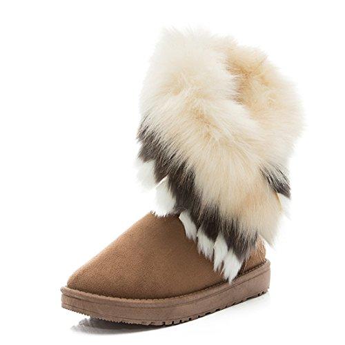 Hiver Chaud Haute Longue Cheville Bottes De Neige Faux Renard Fourrure De Lapin Pompon Chaussures Jaune