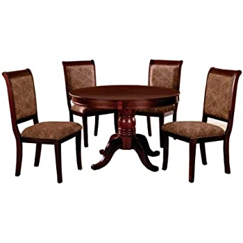 Exceptionnel Furniture Of America Bernette 5 Piece Round Dining Table Set, Antique  Cherry Finish