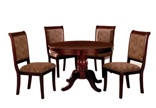 5 Piece Cherry Finish Wood - Furniture of America Bernette 5-Piece Round Dining Table Set, Antique Cherry Finish