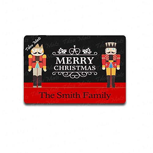 (Cindy&Anne Custom Nutcrackers Merry Christmas Welcome Doormat Funny Door Mat Entrance Front Door Mat Home Doormat Indoor Outdoor Decor Doormat Non-Slip Rubber Backing Mat 23.6x15.7 Inch)