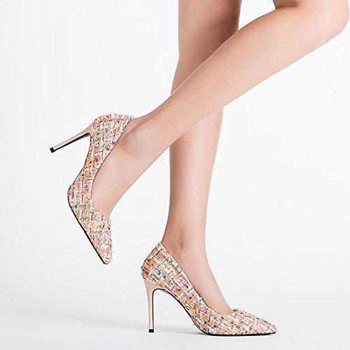JIANXIN JIANXIN JIANXIN Damen Frühling Und Sommer Sexy Stiletto Heels OL Pumps Und Stiletto Heels. (Farbe   Aprikose größe   37) 08ef67
