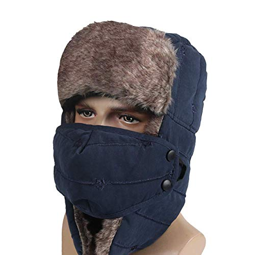 YOOCOOL Unisex Winter Trooper Trapper Hat Hunting Hat Ushanka Ear Flap Chin Strap and Windproof Mask (Navy Blue)