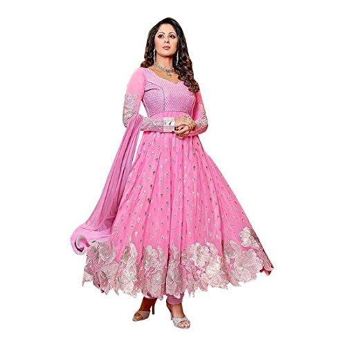 Embroidered Semi Stitched Ghagra Choli (Pink)