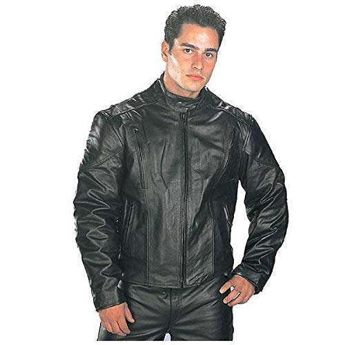 Xelement B7201 Men's Top Grade Leather Motorcycle Jacket with Zip-Out Lining - 3X-Large
