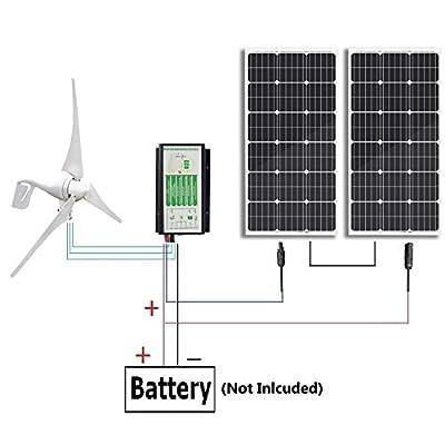 ECO-WORTHY 600 Watts Wind Solar Power: 1pc 12V/24V 400 Watt Wind Turbine Generator + 2pcs 12V 100 Watt Polycrystalline Solar Panel + 24cm Cable with MC4 Connector