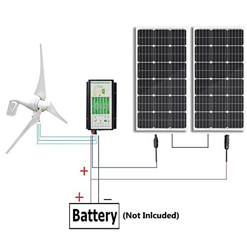 ECO-WORTHY 600 Watts Wind Solar Power: 1pc 12V/24V 400 Watt Wind Turbine Generator + 2pcs 12V 100 Watt Polycrystalline Solar Panel + 24cm Cable with MC4 Connector (Generators For Use Wind Home)