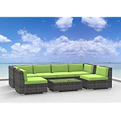 Urban Furnishing.net - OAHU 7pc Modern Outdoor Wicker Patio Furniture Modular Sofa Sectional Set, Fully Assembled - Lime Green