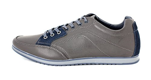 Hombre De Lona Casual Zapatillas Con Cordones Correr Caminar zapatillas RU 6 7 8 9 10 11 - Negro/Gris, 8 UK / 42 EU