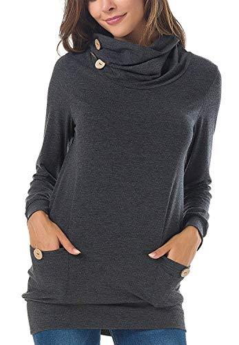 Felpe Casual Maniche Alto Felpa Donna Collo Shirts Ragazze Monocromo Primaverile Elegante Camicetta Bluse Camicia Tasche Grau Saoye Lunghe Autunno Baggy A Fashion Con Giovane 78wPnq8Oa