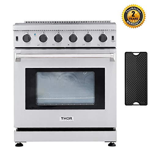 "Thor Kitchen 30"" Gas Range with 4.55 cu.ft Convection Oven in Stainless Steel, 5 Burners, Double Burner Reversible Griddle, LRG3001U"
