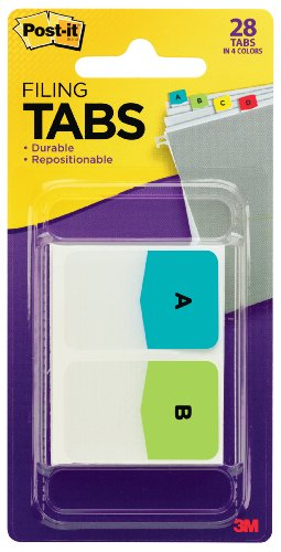 Post-it Tabs, Pre-Printed Letters, Assorted Colors, 1 Inch X 1.5 Inch, 26 Tabs per Pack plus 2 Blank Tabs (686-ALPHA)