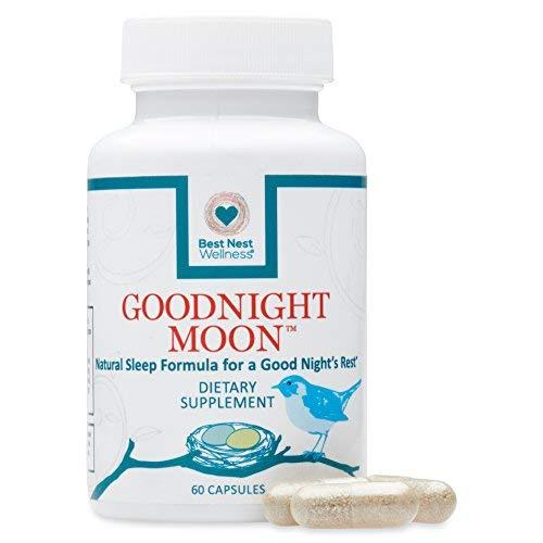Wellness Aid Sleep - Goodnight Moon Natural Sleep Aid | 60 Non-Habit Forming Capsules, Herbal Sleep Aid, with Melatonin, Chamomile, Valerian, Magnesium, Relaxation & Sleeping Supplement Pills, Best Nest Wellness
