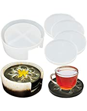 Coasters Resin Molds, Coaster Storage Box Mold With 4 Pcs Round Coaster Casting Molds for DIY Epoxy Resin, Cups Mats, Home Decoration
