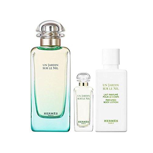 Hermes Un Jardin Sur Le Nil 3 Peice Gift Set Edt Spray for Women, Edt Mini Splash, Moisturizing Body Lotion, 3 Count