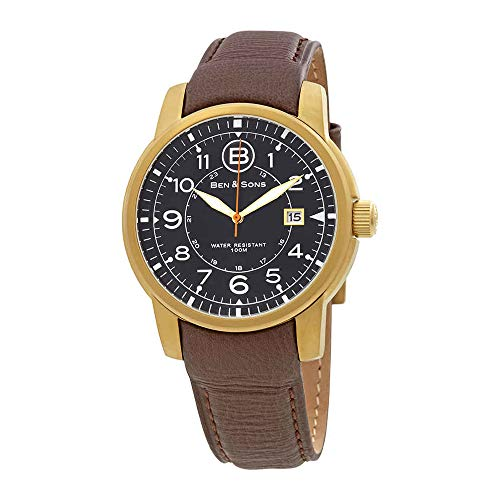 Ben & Sons Men's 'West Side' Quartz Stainless Steel and Brown Leather Casual Watch (Model: BS-10006-AN-01-OA-BRS) (Ben And Sons Mens Watch)