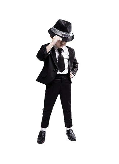 dd54324eddb34 Michael Jackson Space Dance Cos Kid Adult Cosplay Costume 6pcs MJ Dangerous  Suit Jacket + Pants + White Shirt + hat + tie+Gloves  Amazon.co.uk  Clothing