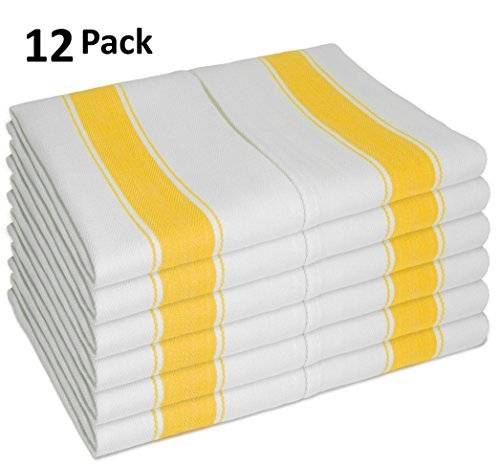 Dishcloth Towel (Dish Towel Set of 12, With Loop, Large Vintage Style 100% Cotton 28X20 - Longer Lasting, Super Absorbent Dishcloths in White with Yellow Stripes - Herringbone Design for Faster Drying & Low Lint)