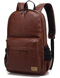 Vintage PU Leather Laptop Backpack School Book Bag College Daypack