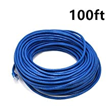 PrimeCables® Blue High Quality Cat6 550MHz UTP RJ45 Ethernet Bare Copper Network Patch Cable (100ft)