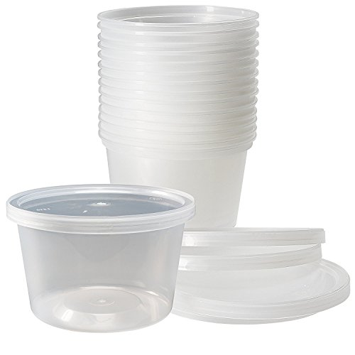 Deli Food Storage Containers with Lids, 16 Ounce (50 Count) (Storage Container Plastic Lid)