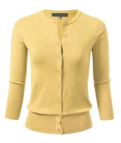 (Allsense Women's Button Down 3/4 Sleeve Crew Neck Knit Cardigan Sweater S Baby Yellow)