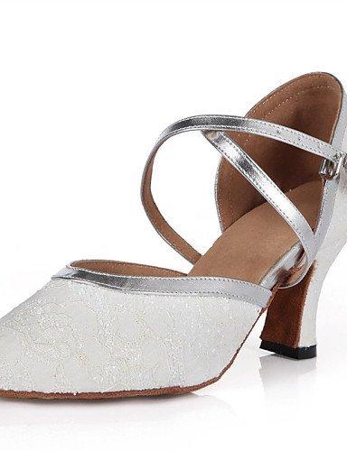 ShangYi Schuh Nicht Anpassbare - Keilabsatz - Kunstleder / Spitze / Glitzer / Pailletten - Lateintanz / Jazztanz / Modern / Samba / Swing Schuhe - Damen White