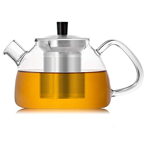 - Glass Teapot with Removable Stainless Steel Strainer & Lid (30 oz) - Glass Tea Kettle - Blooming & Loose Leaf Teapots Stovetop Safe UMOGI