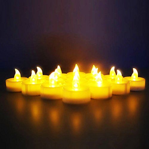 Novelty Place [Longest Lasting] Battery Operated Flickering Flameless LED Tea Light Candles (Pack of 12) (Battery Operated Flickering Tea Lights)