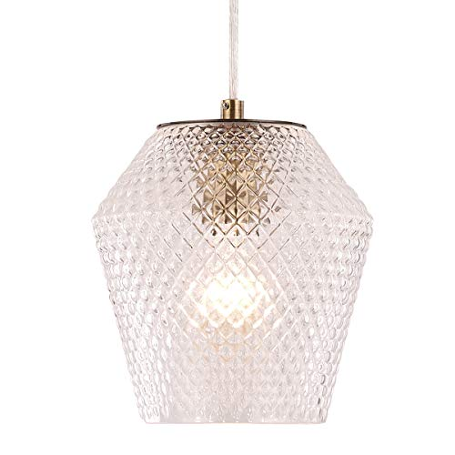 Modern Pendant Lighting Glass Shade Contemporary Pendant Lighting Vase Shade Ceiling Hanging Light Fixture for Living Room, Bedroom, Kitchen, Loft Art Deco, Study, Bar, Café ()