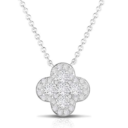 Cluster 925 Silver Pendant Setting - Unique Royal Jewelry 925 Sterling Silver Invisible Set Cubic Zirconia Four Leaf Clover Pendant and Necklace Adjustable to Length of 16