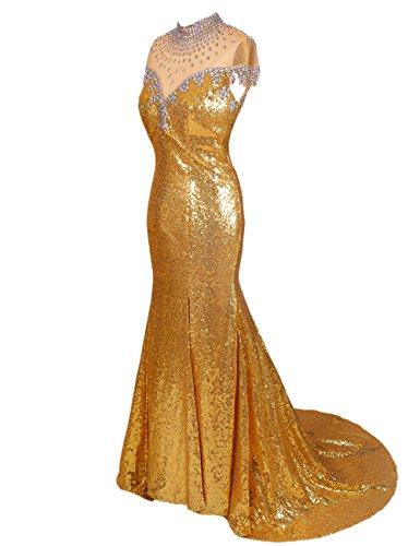 Dresstells® Women's Gold Long Mermaid Prom Dress Evening Sequin Gown Gold Size 12