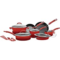 Premium Racheal Ray 12 Piece Cookware Set Nonstick Ceramic Coating, Scratch-Resistant and Cadmium Free Dishwasher Safe Oven Safe, Red Color