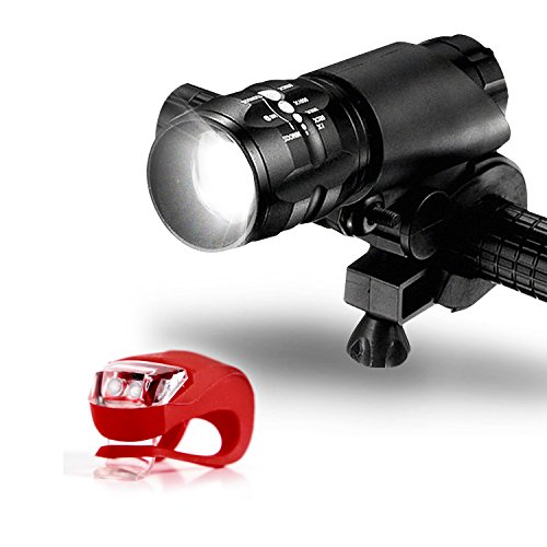 Bike Light Set - Powerful Lumens LED Bicycle Headlight & TAIL LIGHT - Water Resistant - Easy Tool-Free Installation - 500 Feet Visibility