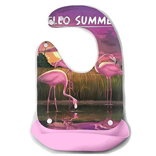Rainbowhug Flamingo Hello Summer Baby Bibs With Wide Pocket Baby Bucket Bib With Adjustable Strap Silicone Bib