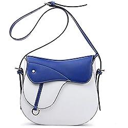 NAWO Women's Leather Designer Handbag Clutch Purse Cross-body Bag on Clearance Blue & White