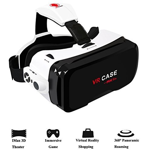 3D VR Headset,Hamaxa 360° Virtual Reality Glasses Video Games 3D Movies Glass with Bluetooth Remote Controller Goggles Cardboard for Android Samsung Galaxy iPhone 7 plus 6s 4.0