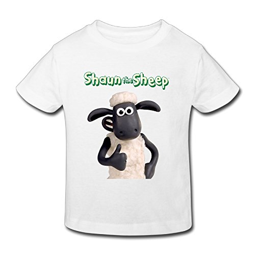 Toddler's 100% Cotton Shaun The Sheep Logo Funny T-Shirt White US Size 4 Toddler