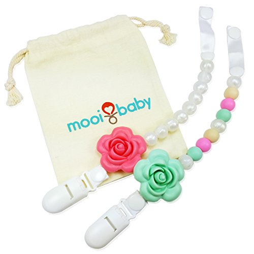 Pacifier Clip - 2 Pack - Silicone Baby Teething Pacifier Cli