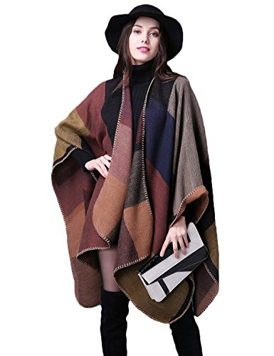 ADOMI Womens Winter Elegant Reversible Oversized Blanket Poncho Cape Shawl Cardigans Khaki-3