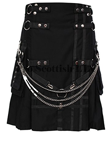Black Deluxe Utility Fashion Kilt With Chain (46W x 24L) by Pro Scottish LLC