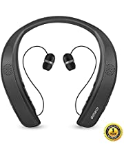 Wearable Bluetooth Headphones Doltech Neckband Wireless Speaker with Mic Personal Speaker Theater Quality 3D Sound Hands-Free Phone Calls