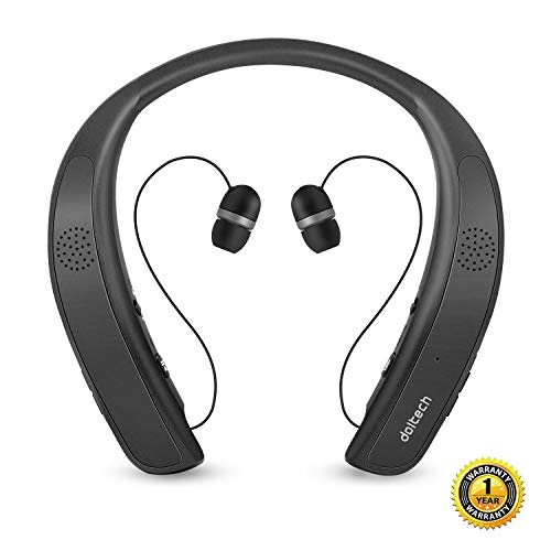 Bluetooth Headphones Speaker 2 in 1,DolTech Wireless Headphones Neckband Wearable Speaker Retractable Earbuds 3D Stereo Sound Sweatproof Headset with Mic (Best Sweat Proof Bluetooth Headphones)
