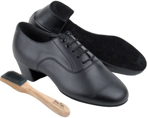 Very Fine Men's Salsa Ballroom Tango Latin Dance Shoes Style C915108 Bundle with Dance Shoe Wire Brush, Black Leather 13 M US Heel 1.5 Inch by Very Fine Dance Shoes (Image #3)