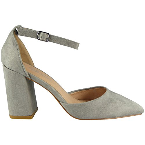 Loud Block Look Shoes Toe Pointy Strap Ankle Size 8 Grey Chunky Ladies Sandals Party Heel Womens 3 88x7wqdr