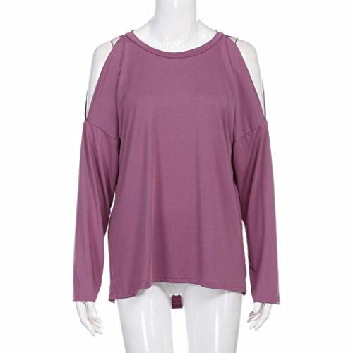 SKY Mujeres Verano Abierto Volver camiseta de manga corta Backless Tops Tees T-Shirt Rosa caliente