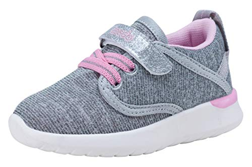 COODO Toddler Kid's Sneakers Boys Girls Cute Casual Running Shoes (4 M US Toddler,Grey Pink) -