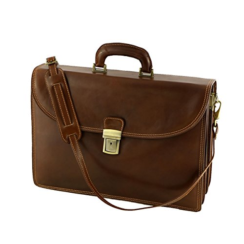 Leder Business Taschen - 4007 Braun - Echtes Leder Tasche - Mega Tuscany